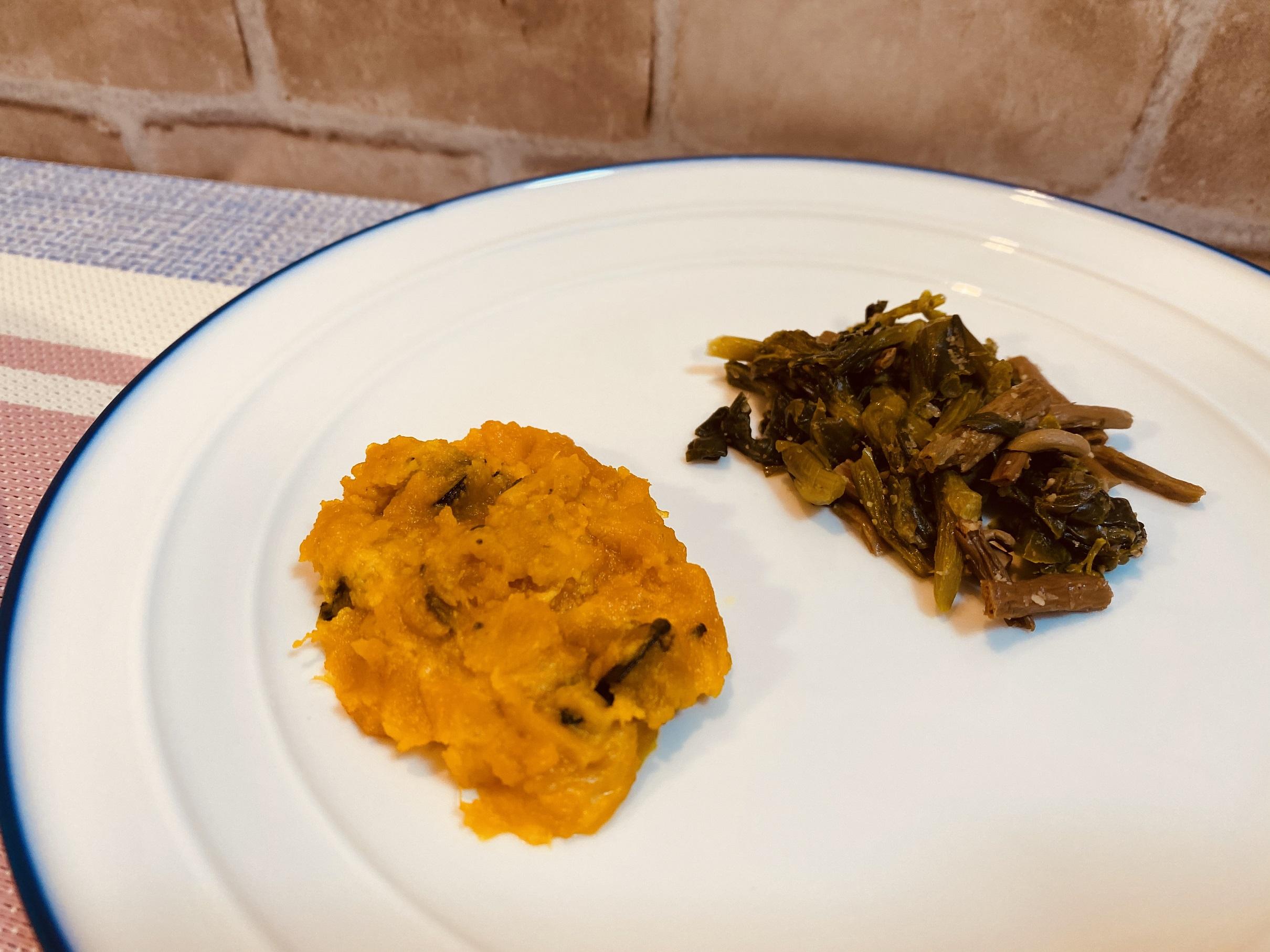 (メニューの一例)カボチャの和え物、菜の花とぜんまいのナムル