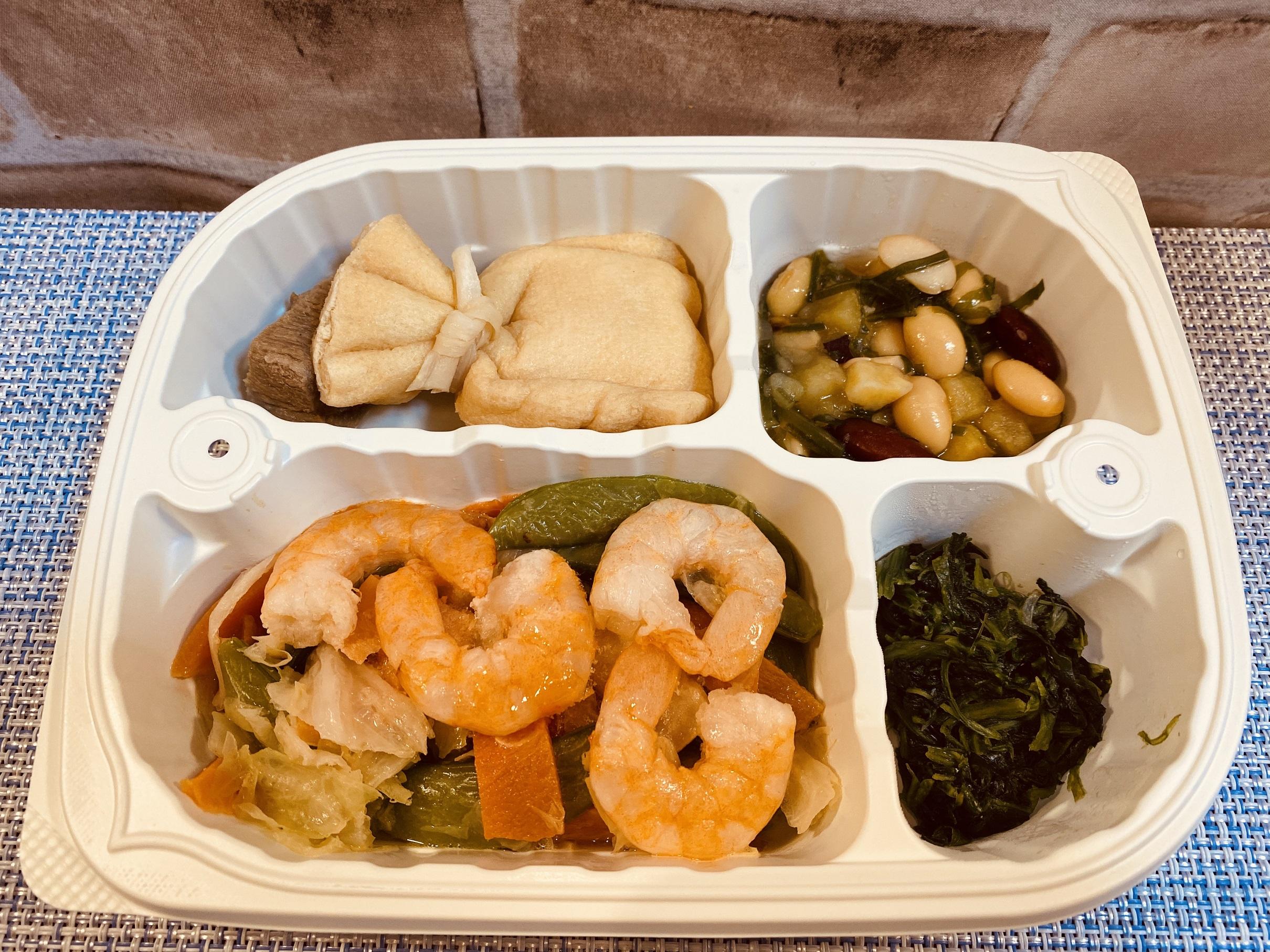 (メニューの一例)えびとえんどうの炒め物、豚肉の煮物、さつまいもの煮物、ほうれん草の和え物