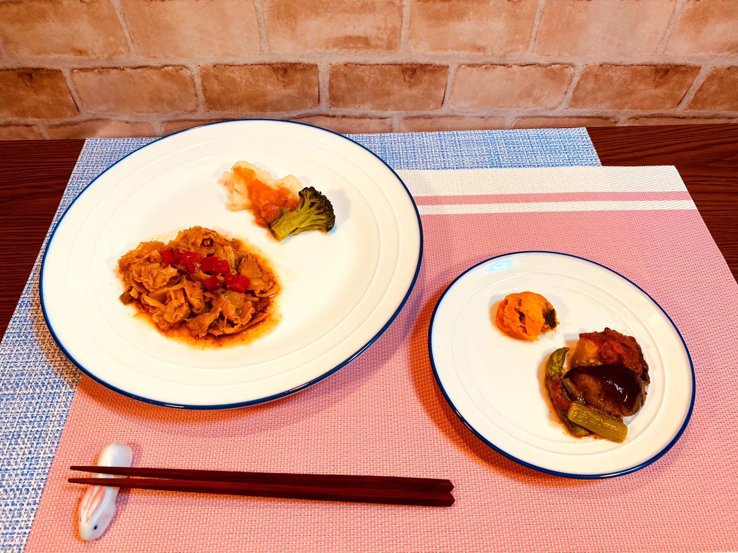 (メニューの一例)ホイコーロー、カリフラワーとブロッコリーの煮物、なすと牛肉の煮物、カボチャ煮