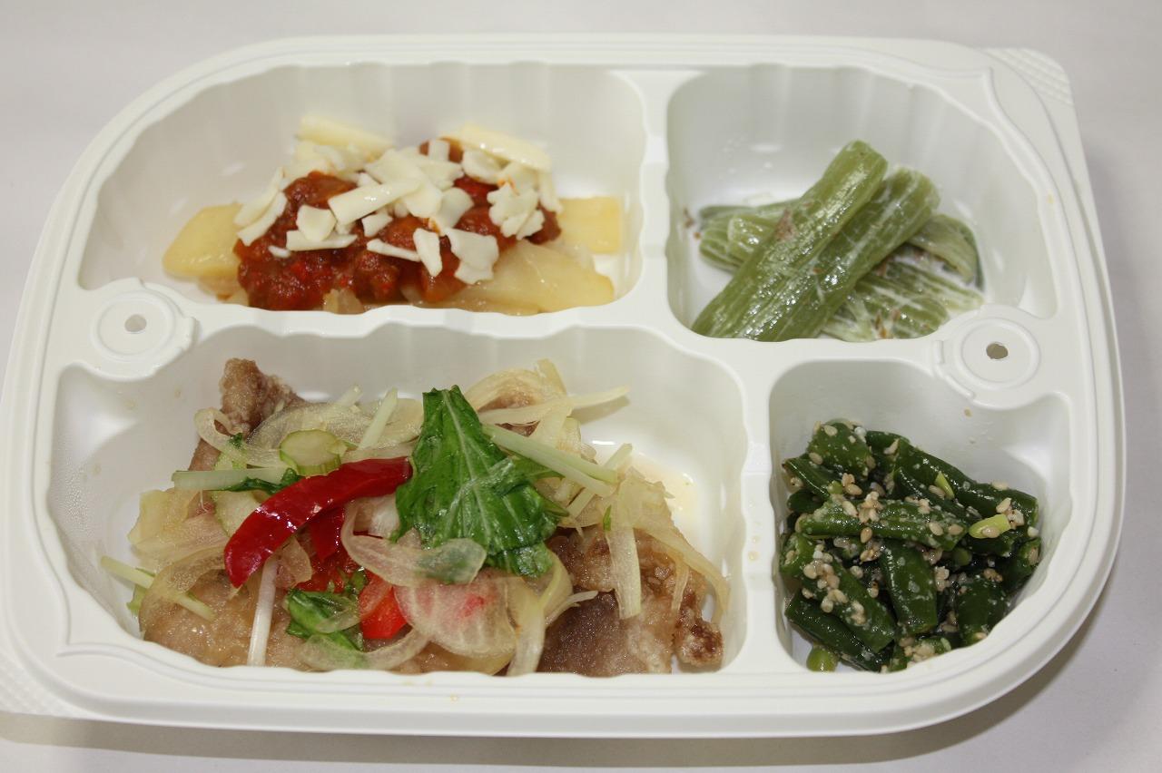 (メニューの一例)豚肉の彩り野菜かけ